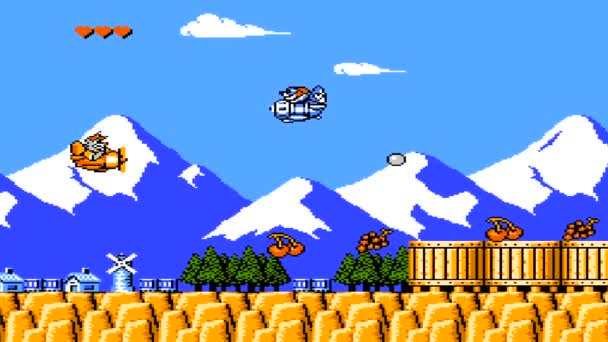 URYUPINSK. RUSSIA - JULY 14, 2016: Gameplay game console Nintendo nes Tale Spin - Bear is flying in an airplane on July 7 2016 in Urupinsk, Russia