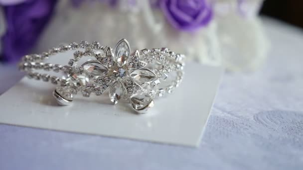 tiara for the bride silver on the table video
