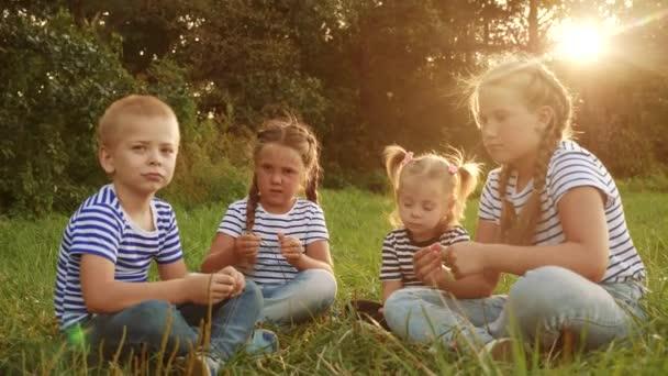 Eine Gruppe von Kindern sitzt im Park auf dem Rasen und redet. Kindertraum glückliche Familie Konzept. eine Gruppe von Kindern, die sich im Park entspannen und miteinander reden, eine glückliche Familie. Menschen, die Spaß im Park haben