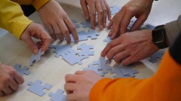 Teamwork concept. a group of people a team assemble jigsaw puzzles solve a problem. Business teamwork concept. community of people together put partnership the puzzles. business solution. support