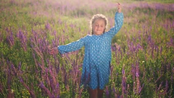 dívka dítě v modrých šatech procházky v parku s fialovými květy. šťastný rodinný dítě snít slunce koncept. dítě kráčí v přírodě krásné pole s květinami. dívka snů šťastné dětství v parku