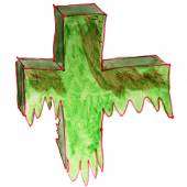 drawing cartoon kids watercolor cross on white background