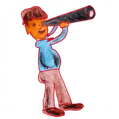watercolor drawing kids cartoon telescope on white background