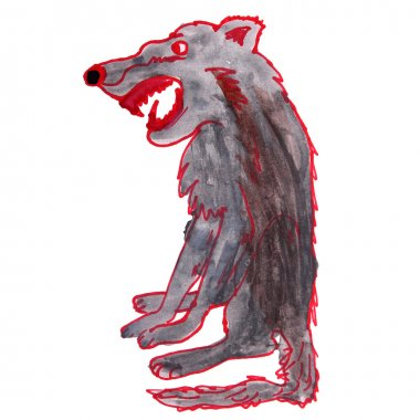 watercolor drawing kids cartoon wolf on white background
