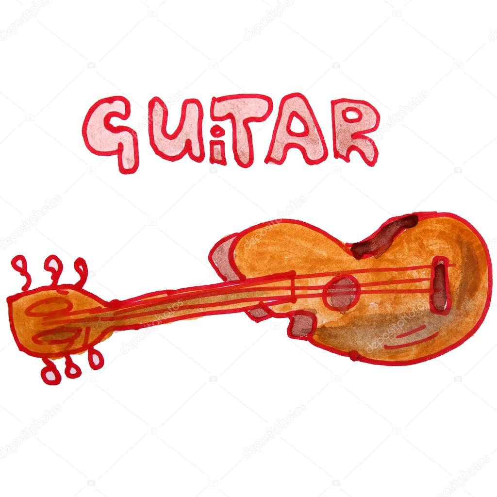 Watercolor Drawing Kids Cartoon Guitar On White Background Stock Photo 61762227