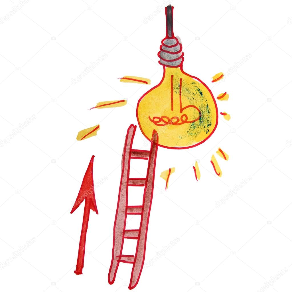 drawing children watercolor staircase, cartoon light bulb on a w