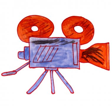 watercolor drawing kids cartoon video camera on a white backgrou