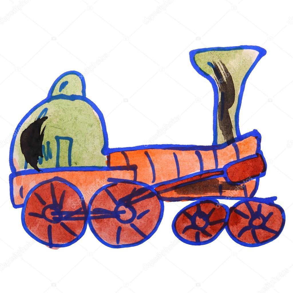 Aquarell Lokomotive Zug Zeichnen Cartoon Stil Die Isoliert Auf Eine