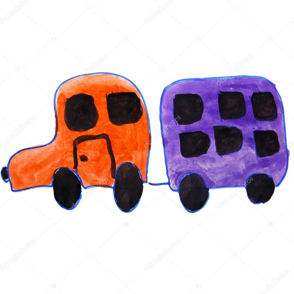 drawing kids watercolor car, trailer cartoon on a white