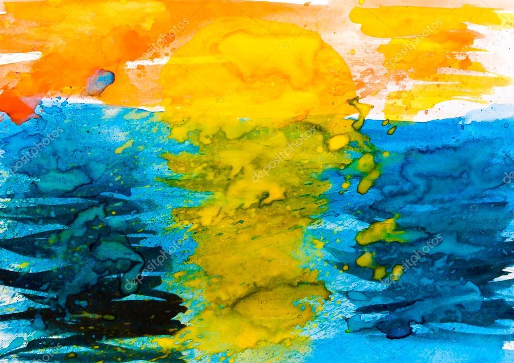 watercolor texture pattern sea sun
