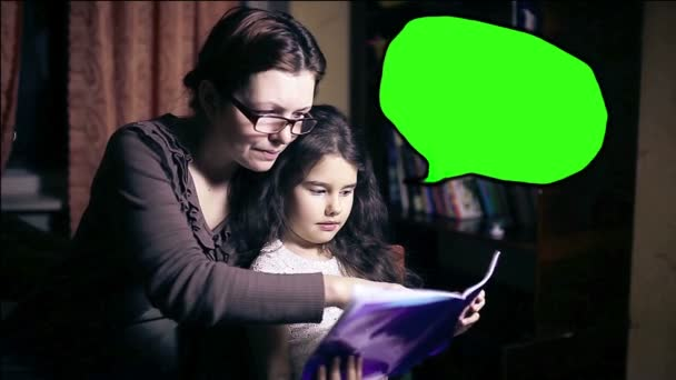 Mom and daughter woman and child reading book at home tonight place for your message cloud green key video hd 1920x1080, infographics