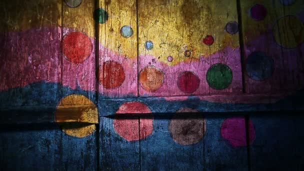 Video motion graffiti circle,    circus,   colored strip ornament night light moves along the wall abstract background  pattern hd 1920x1080
