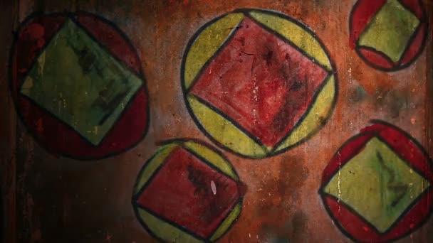 Video Motion graffiti čtvercový hranatý čtverec noční světlo se pohybuje podél zdi abstraktní základní vzorek HD 1920x1080