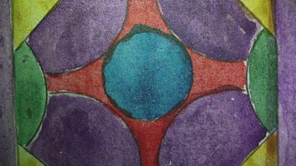 Video Motion graffiti kruh, cirkus, barevná ozdoba ozdobná noční světlo se pohybuje podél zdi abstraktní základní vzorek HD 1920x1080