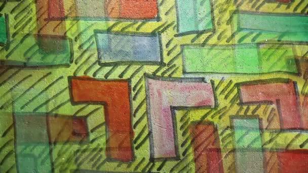 Pohyb videa graffiti bludiště Tetris ozdoba noční světlo se pohybuje podél zdi abstraktní pozadí vzorek hd 1920 x 1080