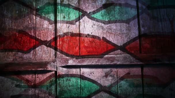 Video Motion graffiti ősi Pigtail dísz éjszakai fény mozgatja a falon végig absztrakt háttér minta HD 1920x1080