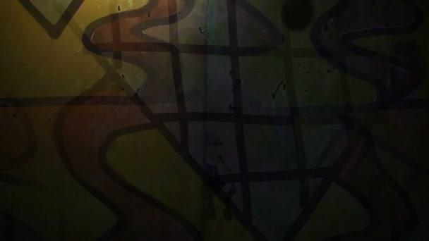 Video Motion graffiti kortárs művészeti Avant-Garde dísz éjszakai fény mozog a falon mentén absztrakt háttér minta HD 1920x1080