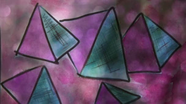 Video motion  graffiti     pyramid, triangle ornament night light moves along the wall abstract background  pattern hd 1920x1080