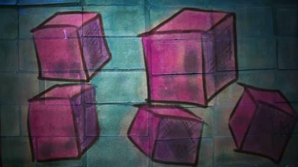 Pohyb videa graffiti náměstí, avantgardní, kostka ozdoba noční světlo se pohybuje podél zdi abstraktní pozadí vzorek hd 1920 x 1080
