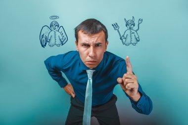 Businessman angry man shows his finger angel devil demon infogra