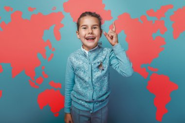teen girl He raised his finger up idea world map education background