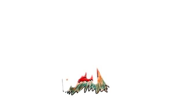 chlupatá příšera s rohy, kterou žlutá akvarel karikatura kreslení izolovaných na bílém pozadí videa