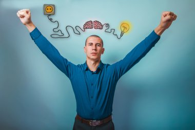 Male businessman raised his hands gesture of victory brain boost