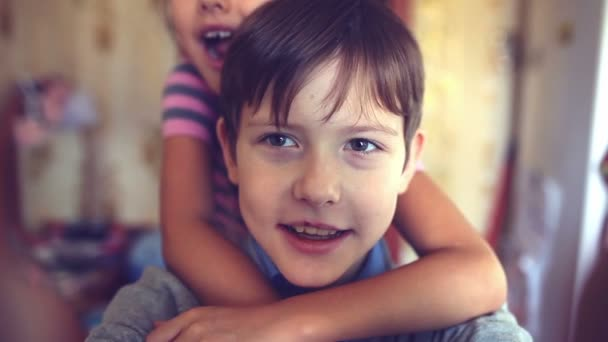 boy girl hugging self shout brother and sister happiness