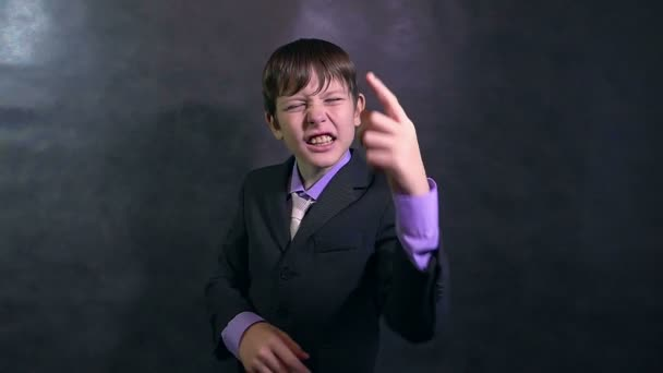 angry businessman teenager boy shouting swears slow motion