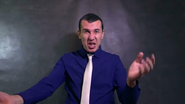 man businessman swears an evil devil shouts problem stress slow motion