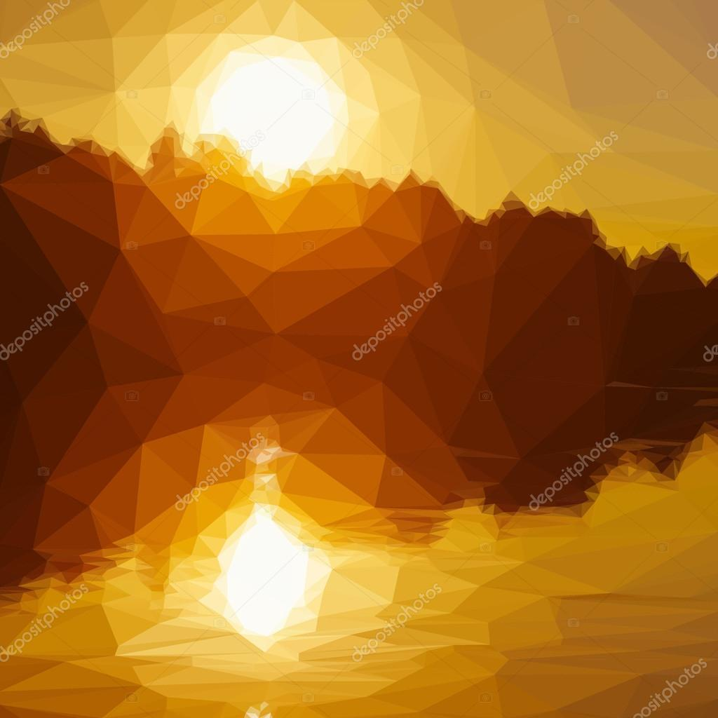 Low poly design triangular sunset river sun water yellow polygon