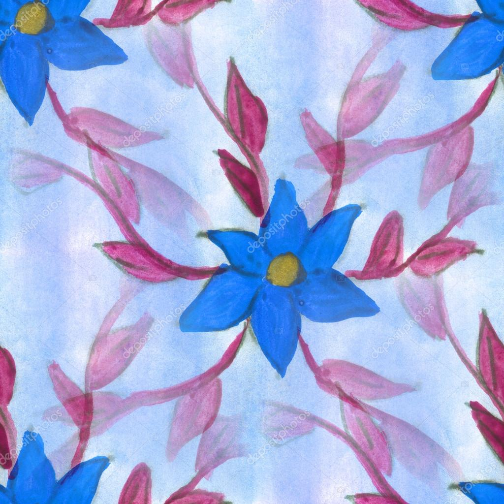 Watercolor flower pattern blue brown seamless floral