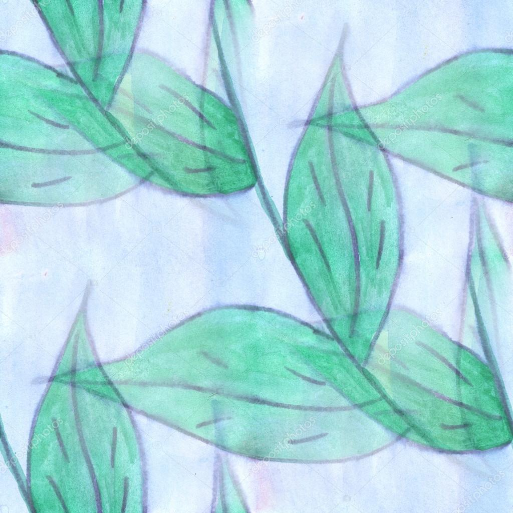 Watercolor blue green flower pattern seamless floral