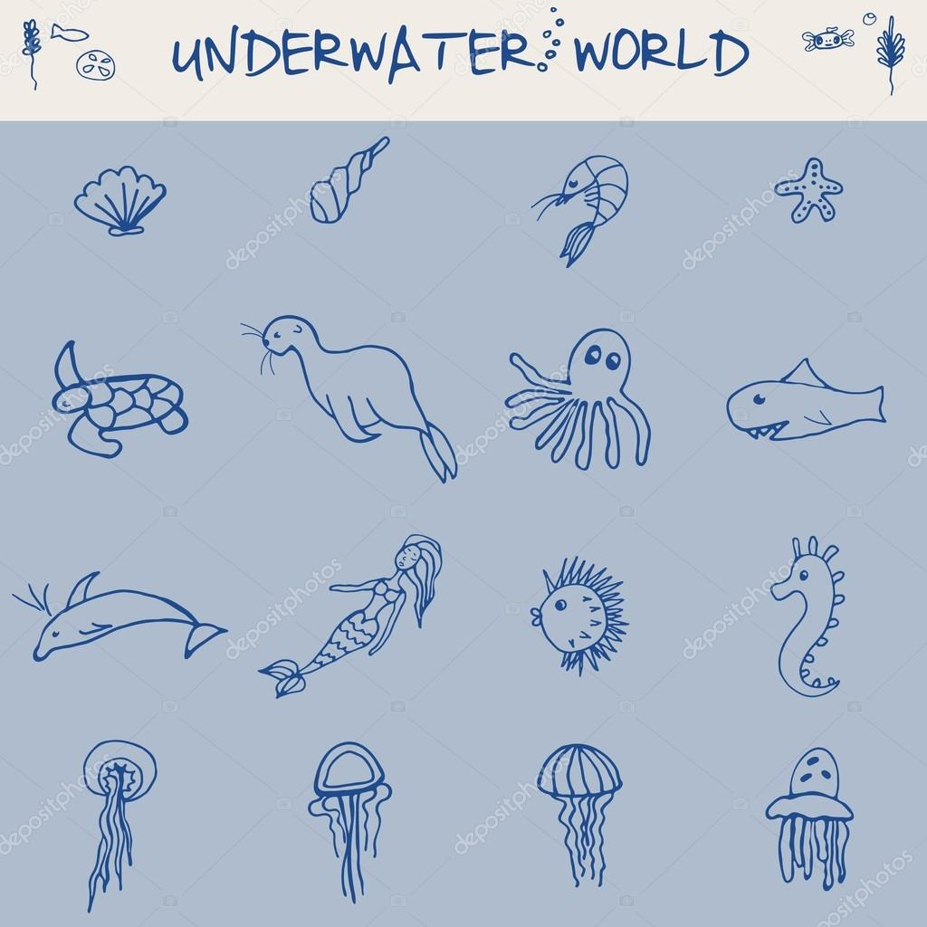 Hand drawn doodle Boat and Sea set Vector illustration boat icons sea life concept elements