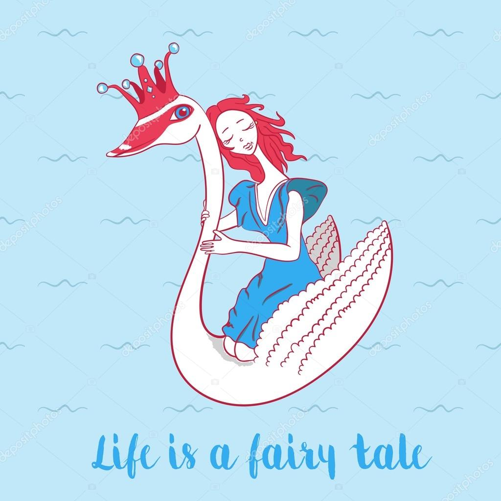 241Cartoon cute swan with crown and girl. Fairytale background for kids or children. Girl sitting on swan princess on blue background.