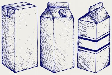 A set of boxes for milk and juice