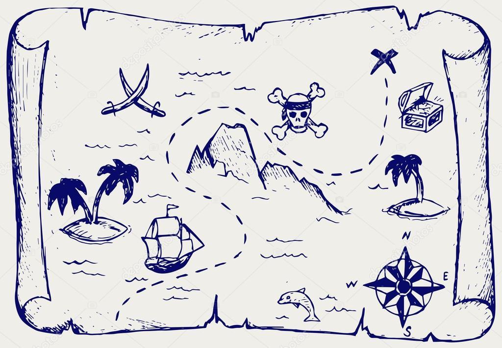 Mapa Isla Del Tesoro.Mapa De La Isla Del Tesoro Archivo Imagenes Vectoriales