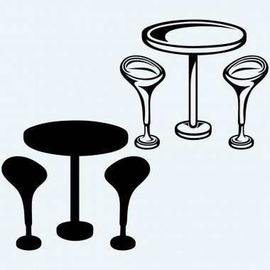 Modern bar table with two chairs
