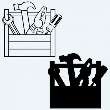 Toolbox with tools. Isolated on blue background stock vector