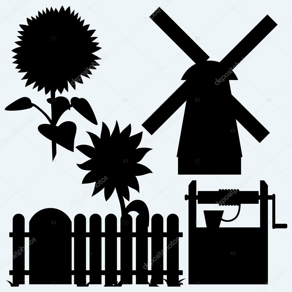 Agriculture. Sunflower and fence, old water well and windmill. Isolated on blue background. Vector silhouettes