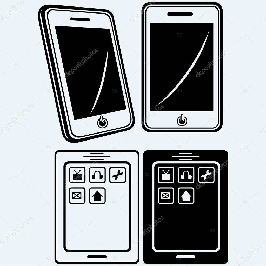 Telefono Cellulare Con Schermo Vuoto Isolato Su Sfondo Bianco