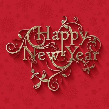 Decorative typographic New Year design stock vector