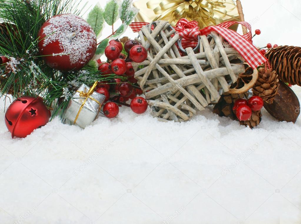 Shabby Chic Natale : Christmas background with shabby chic heart u stock photo