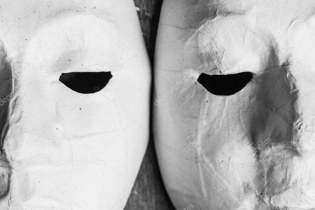 çocuklar Için Boyama Için Beyaz Maskeler Stok Foto Sritangphoto