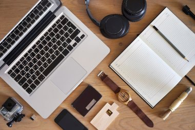 Workplace concept. Businessman, photographer, videographer, blogger.