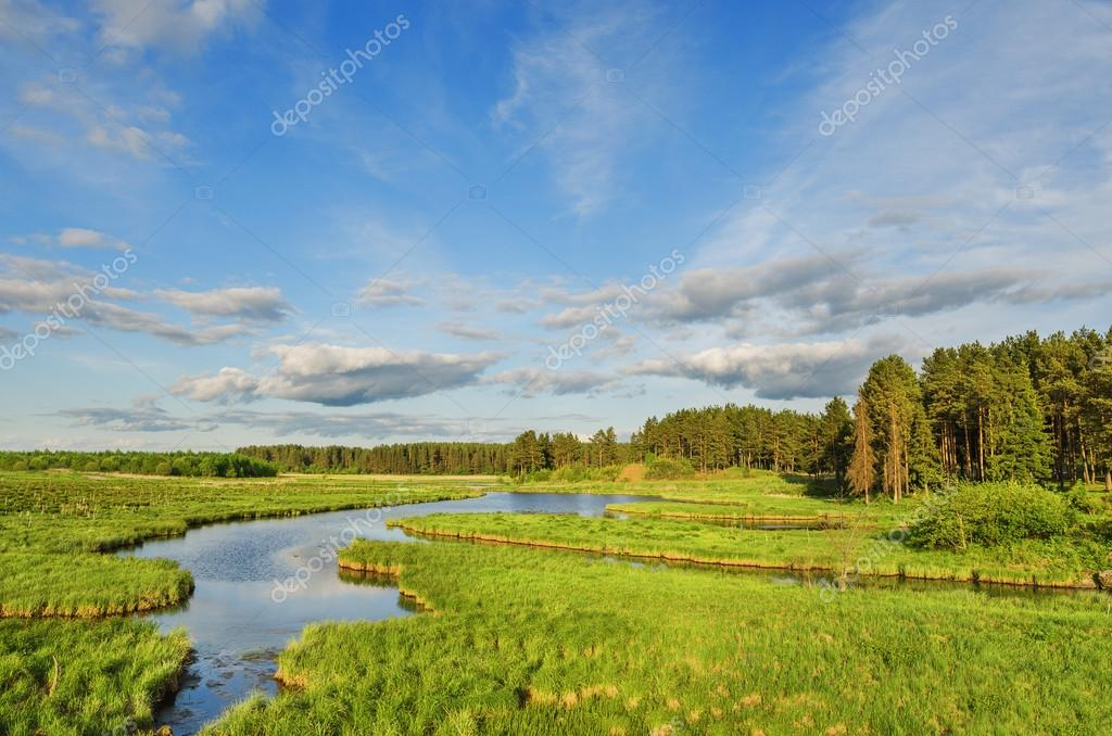 Фотообои summer landscape with river and clouds on blue sky