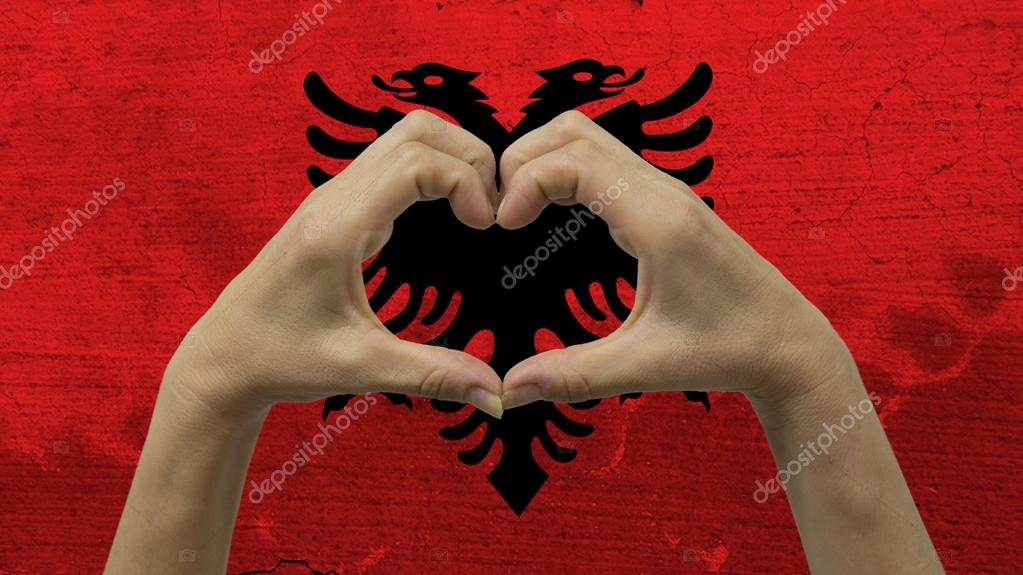 Hands Heart Symbol Albania Flag Stock Photo Cactii 122471718