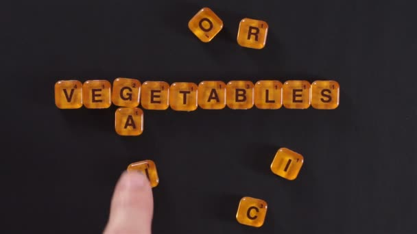 Letter Blocks Spelling Organic Vegetables