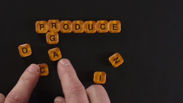 Letter Blocks Spell Organic Produce