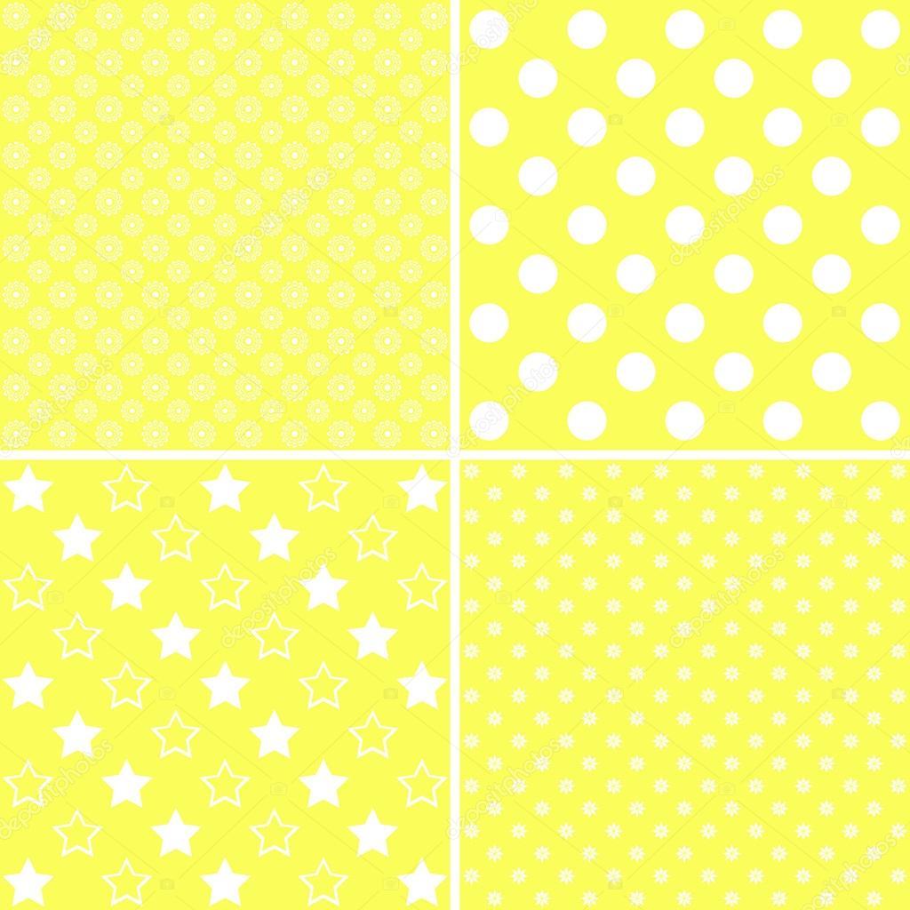 2e19beed00 Set di modelli carini. Collezione di sfondi nei colori bianchi e gialli.  Illustrazione di vettore — Vettoriali di ...